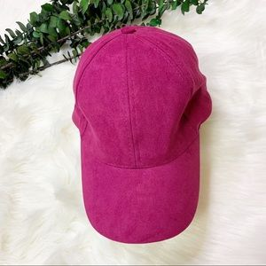 Faux Suede Fuchsia Hat
